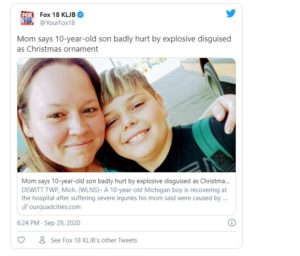 Boy Finds Bomb in Christmas Ornament Box