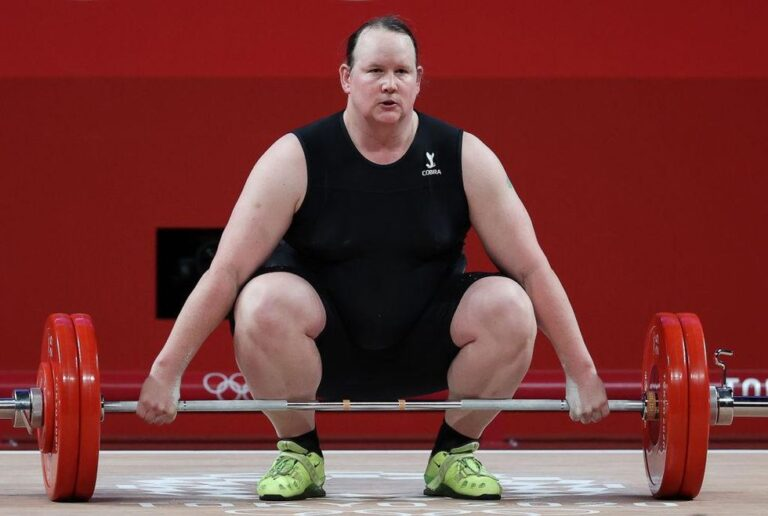 Awkward silence ensues after female weightlifters are asked about trans athlete Laurel Hubbard competing. 'No, thank you,' one finally says.
